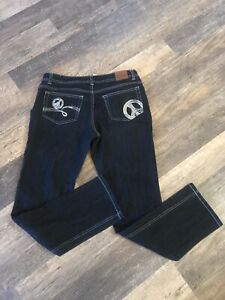 Girls Size 16 1/2 Justice Jeans Dark Wast With Silver Sequins