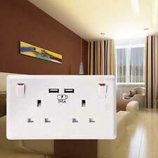 White Electric Wall Plug Sockets With 2USB Outlet Double Socket USB 13A 2Gang WT