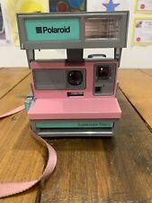 Raro Polaroid Supercolor Esprit Gris Rosa con portadora Funda ~ Buen Estado