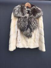Crema Marfil real de piel de visón abrigo chaqueta de cuello de zorro plateado EU 44 UK 10 12 RRP £ 1500