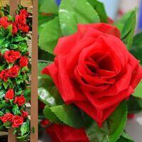 Artificial Silk Ivy Vine Rose Flower Hanging Garland Wedding Garden Decor #G9Z