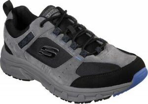 NEW Mens SKECHERS Relaxed Fit Oak Canyon Charcoal Black SUEDE Sneaker Shoes