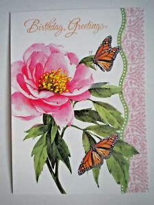 """""""BIRTHDAY GREETINGS""""ROSE & MONARCH BUTTERFLIES GREETING CARD + DESIGNER ENVELOPE"""
