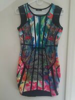 Tropical Printed Stretch Mini Dress Misses Size Large