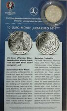 10 EURO FRANKREICH - FUßBALL UEFA 2016 * SILBER SILBERMÜNZE ZERTIFIKAT FOLDER