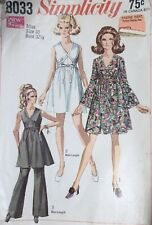 Vtg 1960s Simplicity 8033 Wrapped Midriff Grecian Dress Pants Sewing Pattern 10