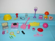 BARBIE & OTHER DOLL ACCESSORIES RECORD PLAYER GUITAR RADIO BOOK PHONE BEAUTY LOT