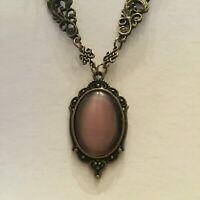VICTORIAN STYLE PINK PURPLE GLASS OVAL DARK GOLD PLATED ORNATE PENDANT NECKLACE