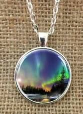 Aurora Borealis necklace  -Glass pendant art- northern lights Cosmos Stars