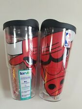 Set of 2  NBA® Chicago Bulls 24oz Tervis Tumblers Insulated with lid Bull Logo