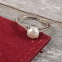 Natural Pearl Ring Stacking Tiny Dainty Simple 925 Sterling Silver Handmade Gift