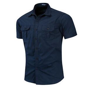 New Men's Short Sleeve Military Shirt Solid Cotton Shirts Workwear with Pocket