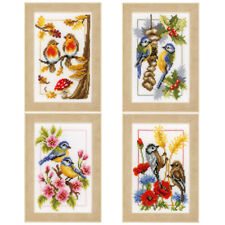 1x Counted Cross Stitch Kit Four Seasons Set of 4 Sewing Craft Tool Art
