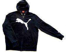 Mens Black Puma Zipped Hooded Top Medium