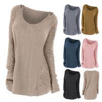 Plus Size L-5XL Women Long Sleeve Round Neck Loose Lace Detail Tops Blouse Shirt