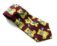 FLORENCE  Neck Tie TEDDY BEARS In Scarves Dark Red Cranberry Tan Necktie