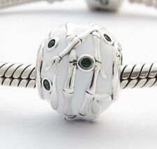 BAMBOO TREE CHARM Bead Green CZ Sterling Silver .925 for European Bracelet 524