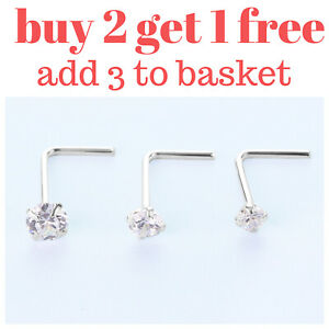 Sterling Silver Clear L Shape Ring Thin Tragus Nose Stud Helix Ear Lip Piercing