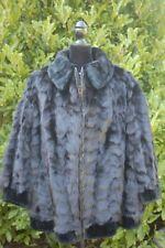 Genuine Black Fox & Sheared Beaver Fur Zippered Jacket Bomber Plus Sized