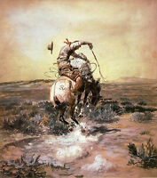 """Wonderful oil painting A Slick Rider - American Cowboy on his horse in field 36"""""""