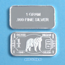 1 GRAMMI LINGOTTO ARGENTO-ORSO (argento finemente Lingotto ARGENTO SILVER BEAR GRIZZLY) NUOVO