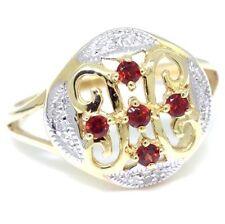 Garnet & Diamond 9ct Solid Gold Antique Style Ring - Sz M/6.5 - 30 Day Returns