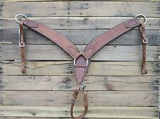 WESTERN BREAST COLLAR BASKET WEAVE TOOLED COW SOFTY PADDED LEATHER HORSE TACK