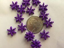 100 14mm Purple Star Starburst Snowflake Cartwheel Paddle Beads