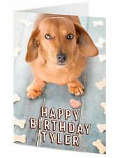 PERSONALISED sausage dog card your text and message Birthday general card