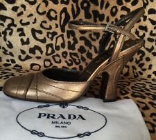 NIB Prada Mary Jane Heels Metallic Gold Leather US 6 1/2, Prada 6 Retail $495