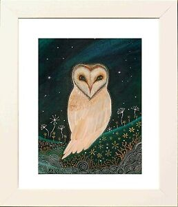 Barn Owl Picture in White Frame - Print from original by Keri Manning-Dedman