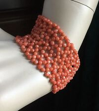 """Antique Victorian Red Salmon Hand Woven Bracelet 26.6 grams 7"""" Long 1.5"""" Wide"""