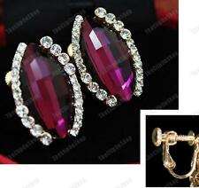 CLIP ON screw PURPLE FACETED CRYSTAL EARRINGS gold plated GLASS rhinestone CLIPS