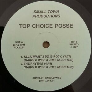 """Top Choice Posse - All You Want 2 Do Is Rock 12"""" small town 1987 Dope Random Rap"""