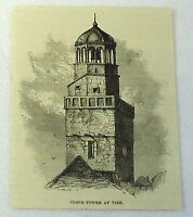 1886 magazine engraving ~ CLOCK-TOWER AT VIRE, Normandy