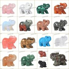 "40mm Carved Gemstone Elephant Healing Guardian Statue Figurine Crafts 1.6"""