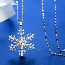Christmas Crystal Snowflake Pendant Long Necklace Snake Chain White Gold Plated