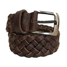 Cintura Uomo Donna Made in Italy Pelle Intrecciata Cuoio Altezza 3,5 cm Marrone