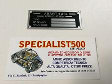 FIAT 500 F/L/R TARGHETTA RIASSUNTIVA DATI IN METALLO  ABARTH PER VANO MOTORE