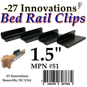 4 CLIPS Antique Flat Top Rail Iron Bed-Box Spring/Mattress CONVERSION KIT 1.5""