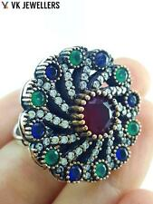 Turkish Ottoman 925 Sterling Silver Jewelry Authentic Ruby Ring Size 8 R1115