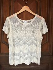 Ladies Dreamers Floral Crochet Lace Short Sleeve Top Tank Camisole Beige Large