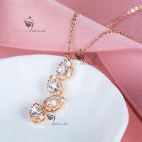 18k yellow gold gp made with SWAROVSKI crystal pendant necklace rain drop party