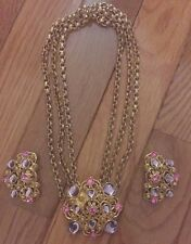 Signed BARRERA For AVON Purple & Pink Multi Strand Necklace & Clip Earrings Set