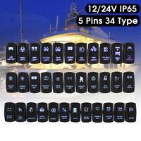 Blu Led Interruttore Bipolare Luminoso A Bilanciere On-Off Camion Braca 12V 24V