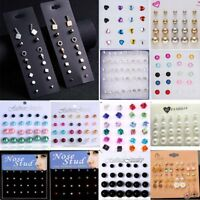 12pcs/set Women Fashion Rhinestone Crystal Pearl Earrings Ear Stud Jewelry Gifts