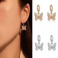 Mode Zirkon Schmetterling Baumel Ohrringe für Damen Mädchen Schmuck Gold Silb @j