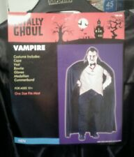 NWT-Totally Ghoul Men's Vampire Black Halloween Costume-One Size #186