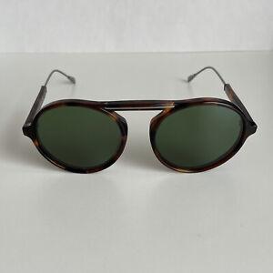 TOD'S Men Women Unisex Tortoise Brown Round Sunglasses