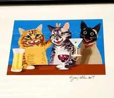 Signed Framed Art Cats Drinking Bar Peace Sign Big Smiles beer wine martini BLA4